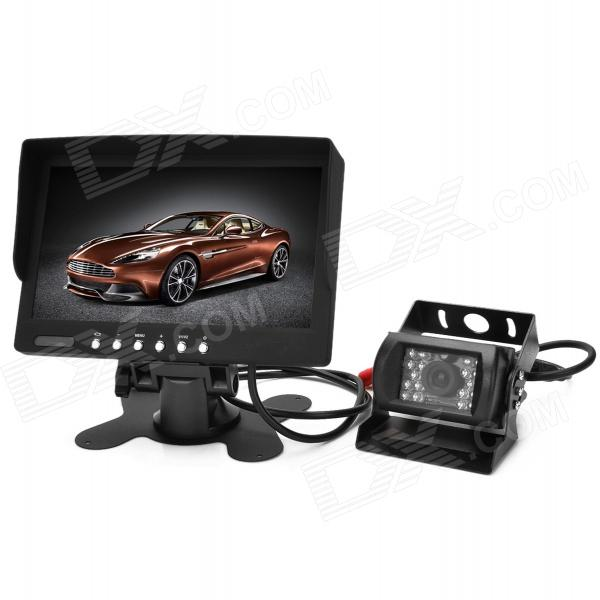 Waterproof 7 TFT Wired CMOS Car Wide Angle Rearview Camera w/ 18-IR LED Night Vision - BlackRearview Mirrors and Cameras<br>ModelMotorQuantity1MaterialPlasticForm  ColorBlackCompatible MakeUniversal,OthersStyleInternalDisplay Mode16:9Screen Resolution480 x 234Menu LanguageEnglishSignal SystemPAL,NTSCBluetooth VersionOthersCamera TypeWiredVideo SystemPAL,NTSC,Auto,OthersImage SensorCMOSViewing Angle135IR Night VisionYesLED Qty4Night Vision Distance5Resolution420Distance Ruler LineYesMinimum Illumination0.1~0.5LuxWater-proofYesPower SupplyDCOther FeaturesofPacking List1 x Monitor (50cm cable)1 x Camera (40cm cable)2 x Power cables (85cm)1 x AV power cable (180cm)1 x AV cable (580cm)1 x Holder1 x Back cover1 x IR remote control (1 x CR2025)1 x 3M dual-side tape1 x English user manual<br>