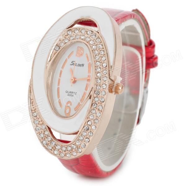 S006 Fashionable Women's Quartz Analog Wrist Watch - Red + White + Golden (1 x 337)