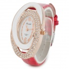 Buy S006 Fashionable Women's Quartz Analog Wrist Watch - Red + White Golden (1 x 337)