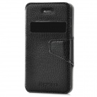 NEWTONS Protective PU Leather Flip-open Case w/ Display Window / Stand for Iphone 4 / 4S - Black