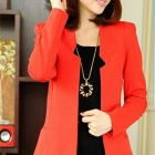 5361 Woman's Fashionable Middle Length Dacron Coat Blazer - Red (M)