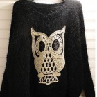 MOTY-312 Stylish Owl Pattern Batwing Sleeve Warm Knitted Mohair Sweater - Black