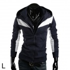 Men's Casual Cotton Hoodie Coat - Dark Blue + White (Size L)