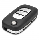 029188 Replacement Car 3-Button Folding Remote Key Head + Case for Renault - Black + Silver