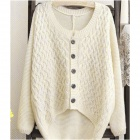 SSY-001 Woman's Fashionable Over-sized Knitted Woolen Yarn Coat - Off-white
