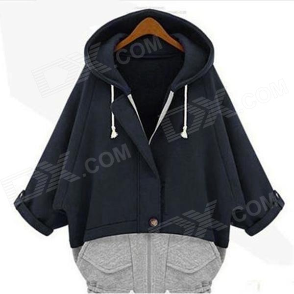 Woman's Fashionable Joint Color Warm Cotton Zipper Coat w/ Hood - Navy Blue + Gray