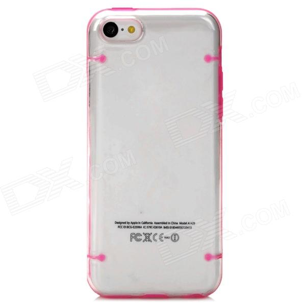 Glow-in-the-Dark Protective PC Back Case for Iphone 5C - Deep Pink + Transparent girl pattern glow in the dark protective tpu back case for iphone 4 4s white light pink