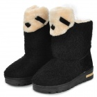 Fashion Cute Short Plush + Rubber Warm Short Boots for Women - Black (Size 38 / Pair)