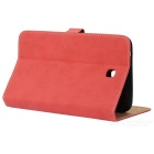 Protective Glossy PU Leather Flip Case for Samsung Galaxy Tab3 T210 - Red