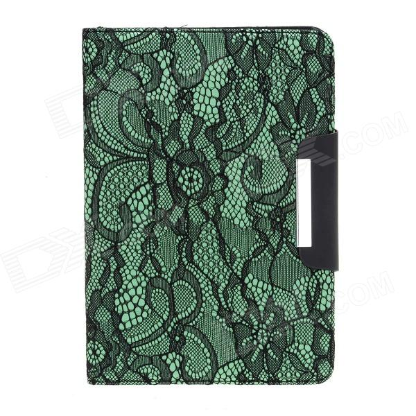Protective PU Leather Case Cover Stand w/ Auto-Sleep / Lace for Ipad MINI - Green + Black protective pu leather microfiber case w dormancy function for ipad mini green
