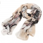 Buy Fashionable Traditional Chinese Painting Begonia Pattern Linen Scarf Muffler - Light Tan + Black