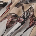 Fashionable Traditional Chinese Painting Begonia Pattern Linen Scarf Muffler - Light Tan + Black