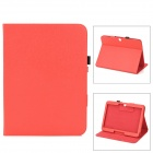 Lichee Pattern Protective PU Leather Flip-open Case w/ Stand for Samsung P5200 Galaxy Tab3 - Red