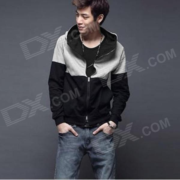 Men's Fashionable Joint Color Warm Cotton Blending Zipper Coat w/ Hood - Black + Gray (L)