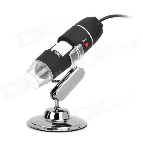 USB Powered 50X~500X Digital Microscope - Black + Silver