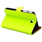 Protective Glossy PU Leather Flip Case for Samsung Galaxy Tab3 T210 - Green-Yellow