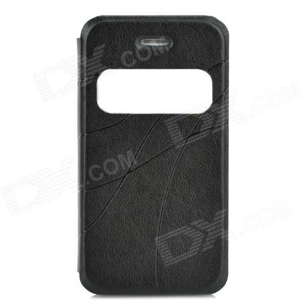 Stylish Flip-open PU Leather Case w/ CID Window for Iphone 4S / 4 - Black protective pu leather flip open case for iphone 4 4s black