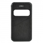 Stylish Flip-open PU Leather Case w/ CID Window for Iphone 4S / 4 - Black