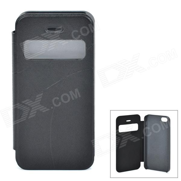 Protective PU Leather + Platic Case for Iphone 5 - Black