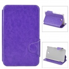 "Protective PU Leather Flip Open Case w/ Card Slots for Samsung Tab 3 7"" P3200 / T210 - Purple"