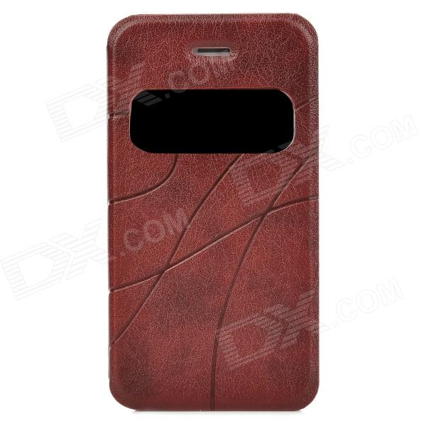 Protective PU Leather + Plastic Case w/ Display Window for Iphone 4 / 4S - Maroon protective pu leather plastic case w display window for iphone 4 4s maroon