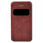 Protective PU Leather + Plastic Case w/ Display Window for Iphone 4 / 4S - Maroon