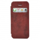 Protective PU Leather + Plastic Case w/ Display Window for Iphone 5 - Maroon