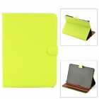 Protective PU Leather Flip-open Case w/ Stand for Samsung P5200 Galaxy Tab 3 - Fluorescent Green