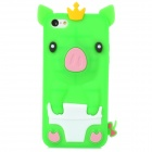 Crown Pig Style Protective Silicone Back Case for Iphone 5C - Green