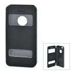 Protective Plastic + PU Leather Case w/ Dual-window for Iphone 5C - Black