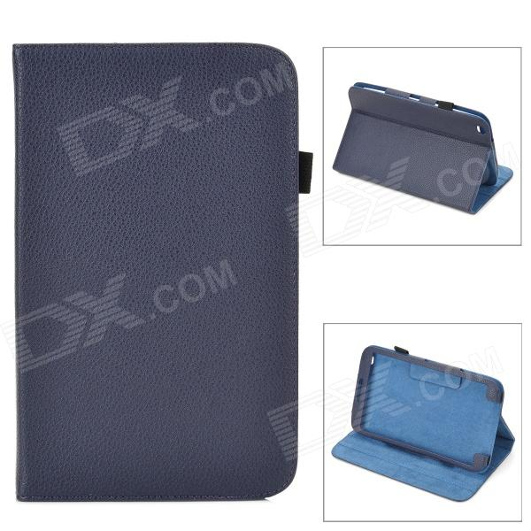 Lychee Grain Style Protective PU Leather Case for Samsung Galaxy Tab 3 8.0 T310 - Dark Blue