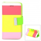 Y6-8 Protective PU + TPU Flip Case w/ Stand / Card Slots / Strap for Iphone 5C - Yellow + Multicolor