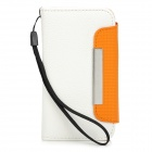 "ZS004 Protective PU Leather Case for Iphone 4 / 4S / 3.5~3.7"" Cell Phones - White + Orange"