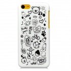 Cartoon Style Protective Plastic Back Case for Iphone 5C - White