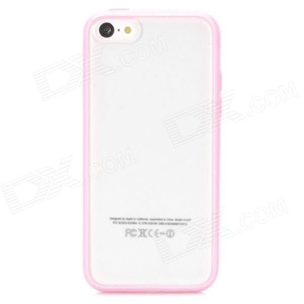 Protective Frosted Plastic Back Case for iPhone 5c - Pink + Translucent White