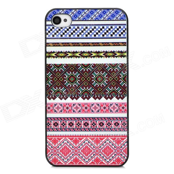 Relief Tribal Ethnic Style Protective Plastic Back Case for Iphone 4 - Blue + White + Red relief tribal ethnic style protective plastic back case for iphone 4 blue white red