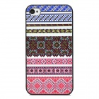 Relief Tribal Ethnic Style Protective Plastic Back Case for Iphone 4 - Blue + White + Red