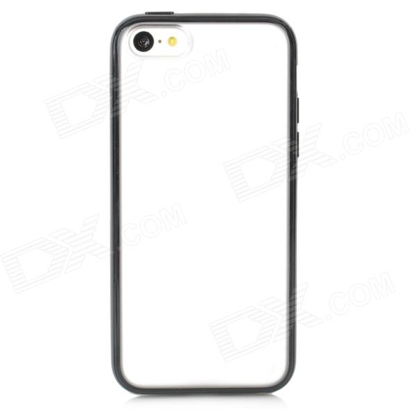 Protective Frosted Plastic Back Case for Iphone 5C - Black + Translucent White protective silicone case for nds lite translucent white