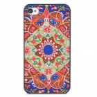Relief Tribal Ethnic Style Protective Plastic Back Case for Iphone 4 - Red + Light Green + Blue