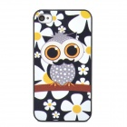 Stylish Cartoon Owl Style Protective Plastic Back Case for Iphone 4 - White + Black + Yellow