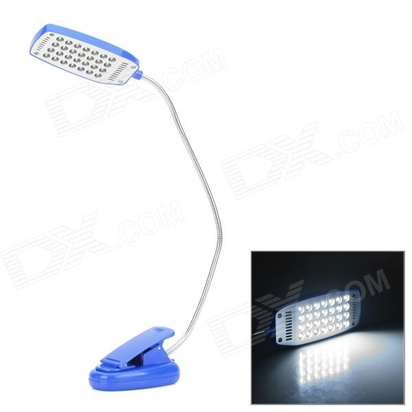 USB Powered 28-LED White Eye-Protection Clip-On Table Light for Computer - Blue + Silver (3 x AAA)