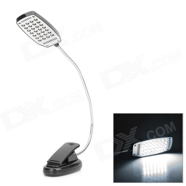 Alimentado por USB 28-LED White Eye-Protection clip-on luz de mesa para o computador - Black + Silver (3 x AAA)