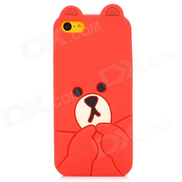 Cute Bear Style Protective Silicone Back Case for Iphone 5C - Red cute marshmallow style silicone back case for iphone 5 5s yellow white