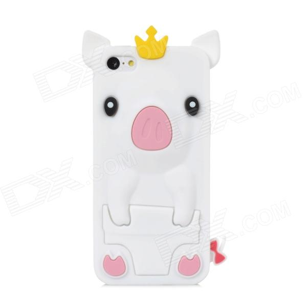 Crown Pig Style Protective Silicone Back Case for Iphone 5C - White protective silicone case for nds lite translucent white