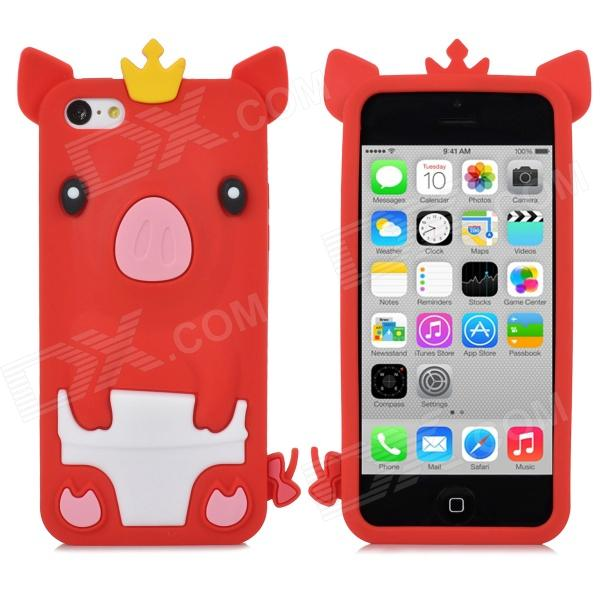 все цены на Crown Pig Style Protective Silicone Back Case for Iphone 5C - Red онлайн