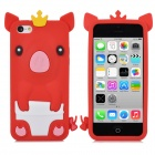 Crown Pig Style Protective Silicone Back Case for Iphone 5C - Red