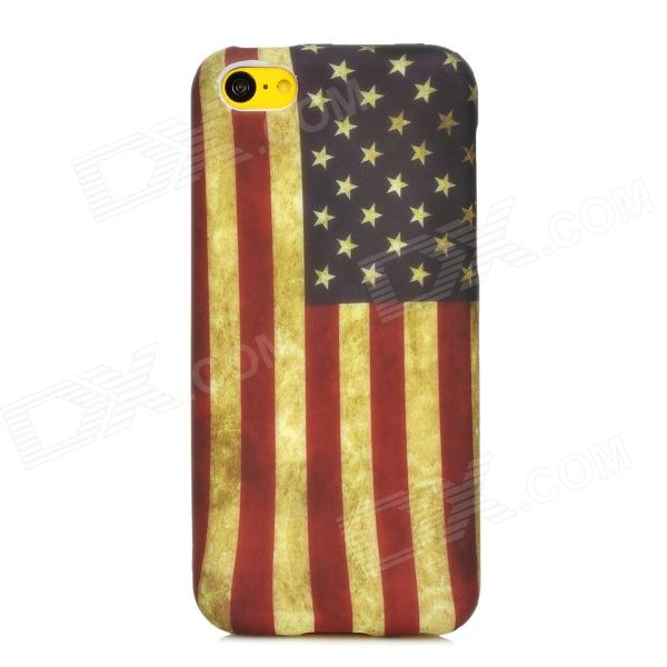 Retro US National Flag Style Protective TPU Back Case for Iphone 5C - Red + Blue