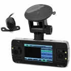 "2.7"" Screen Dual Lens CMOS Car Camcorder w/ 1 Wired Parking Camera / G-sensor - Black"