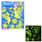 004 3D Butterfly Style Glow-in-the-Dark Sticker for Room Decoration - Fluorescent Yellow