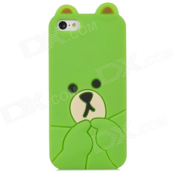 Cute Bear Style Protective Silicone Back Case for Iphone 5C - Green cute marshmallow style silicone back case for iphone 5 5s yellow white